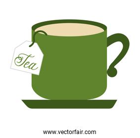 tea cup with bag isolated icon design