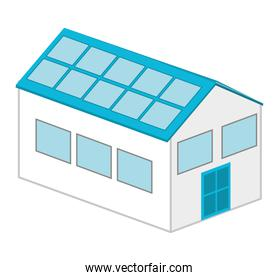 house with panel solar  isolated icon design
