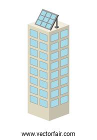 building  with panel solar  isolated icon design