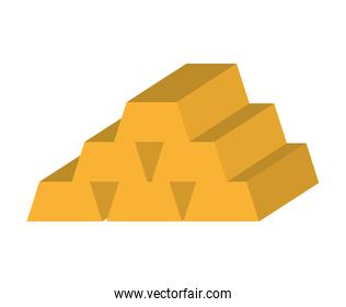 gold ingot isolated icon design
