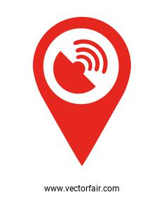 satellite location pin  isolated icon design