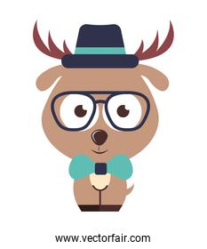 reindeer character hipster style isolated icon illustration