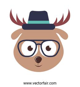 reindeer character hipster style isolated icon design