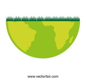 world planet grass eco icon