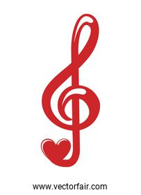 music note heart love icon