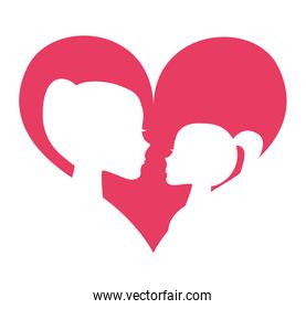 mother daughter silhoeutte icon