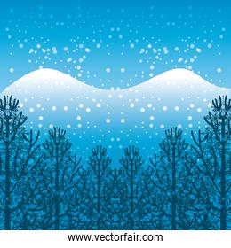 winter season landscape icon