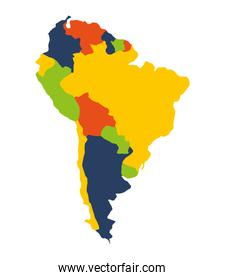 south american map isolated icon