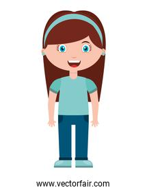 cute little girl isolated icon