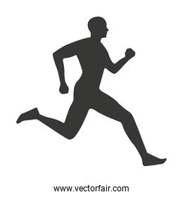 silhouette athlete running isolated icon