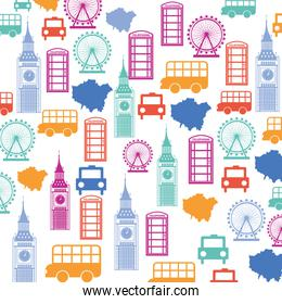 set pattern icons london city trophy gold award isolated icon