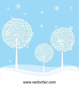 winter landscape field isolated