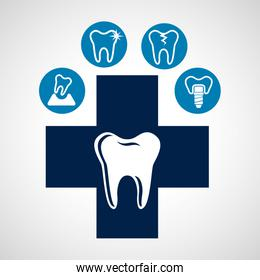 dental healthcare equipment flat icons