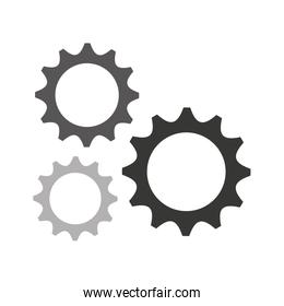 gears settings flat icon over white