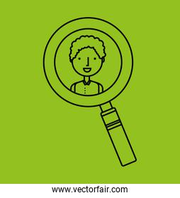 magnifying glass with person