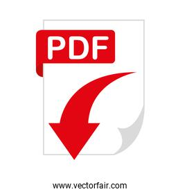 document file format with arrow download isolated icon