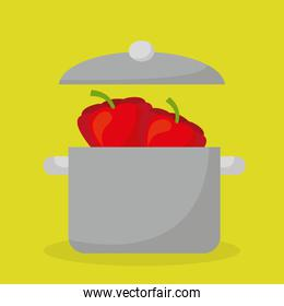 kitchen pot with vegetable food