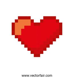 heart love pixelated icon over white