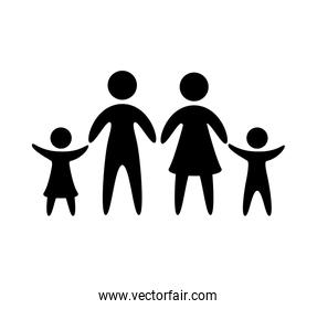 family parents silhouette isolated icon