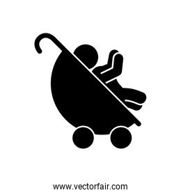 cute baby in cart isolated icon