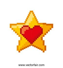 heart love and star pixelated icon