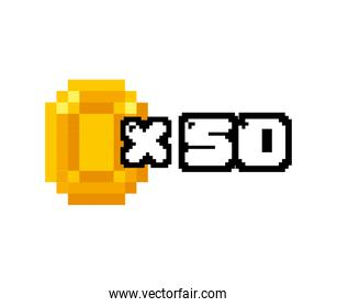 coin gold pixelated icon