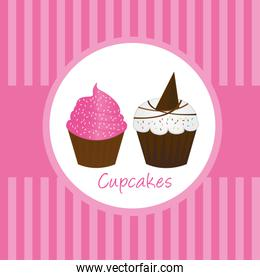 pink cute cup cakes over pink background vector