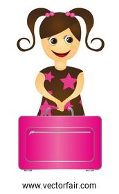 child girl with travel bag isolated over white background vector