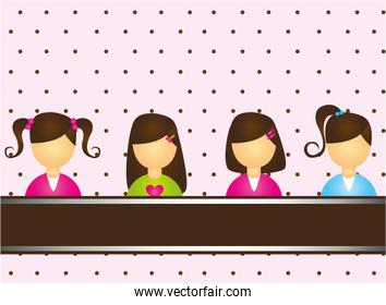 child girls over pink and brown background vector