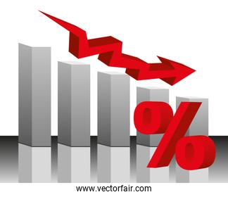 bar graph red arrow and percent background vector bar graph red arrow and percent with shadow background vector