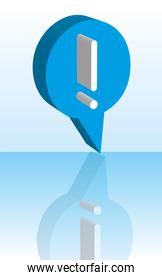 blue exclamation mark with shadow background vector