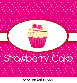 pink strawberry cake over pink background vector