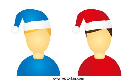 men icon christmas hat isolated over white background
