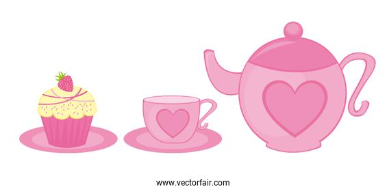pink teapot tea cup and cup cake isolated vector