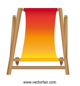 chair beach cartoon isolated over white background vector