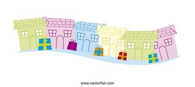cute houses with gifts isolated over white background vector
