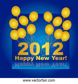 2012 with gold balloons over blue background vector
