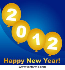 2012 on gold balloon over blue background vector