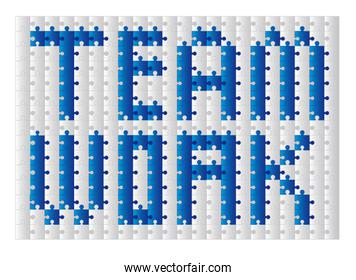 conceptual teamwork with puzzles over white background vector