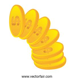 yellow coins isolated over white background vector