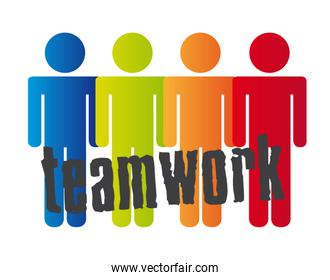 conceptual teamwork with men sign over white background vector