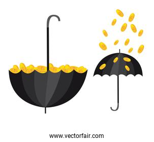 conceptual illustration with umbrella and coins vector