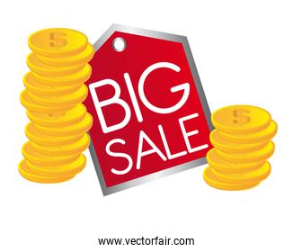 big sale text with gold coins vector illustrastion