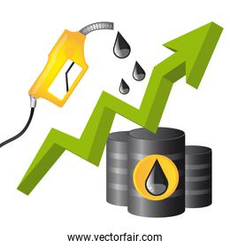 fuel conceptual with raindrop and arrow up vector