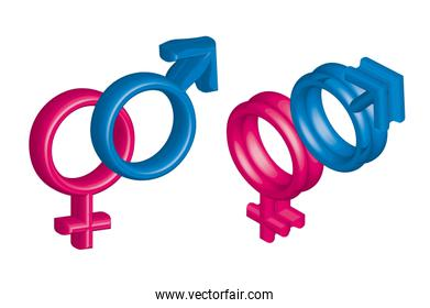 3d man and woman signs over white background vector