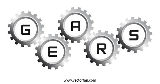 five silver gears over whtie background vector illustration