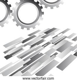 silver gear with abstract background vector illustration