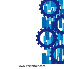 blue gears over abstract vector background illustration