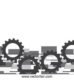 gray gears over abstract background vector illustration