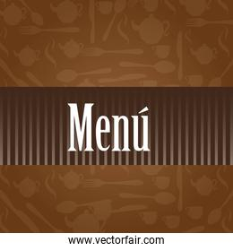 brown menu vector with silhouettes vector illustration